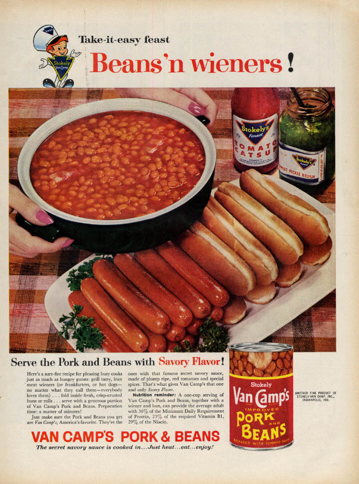 Image for Take-it-easy feast Van Camp's Pork & Beans & weiners! Ad 1960 L
