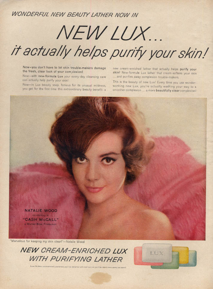 Image for Natalie Wood for Lux Beauty Lather Toulet Soap ad 1960 L