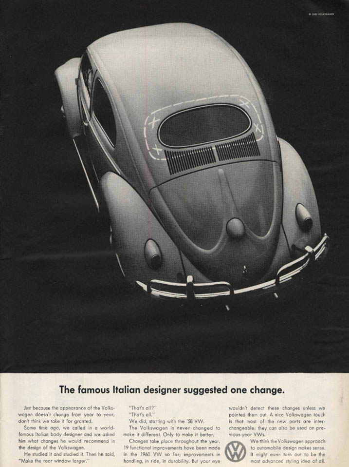 Image for The famous Italian designer suggested one change Volkswagen ad 1960 L