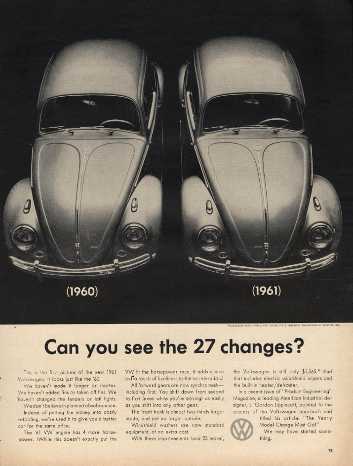 Can you see the 27 changes? Volkswagen ad 1961 L