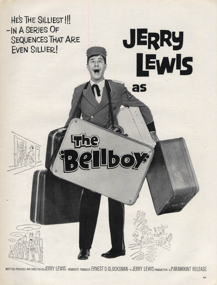 Image for Jerry Lewis as The Bellboy MOVIE AD from LIFE Magazine 1960