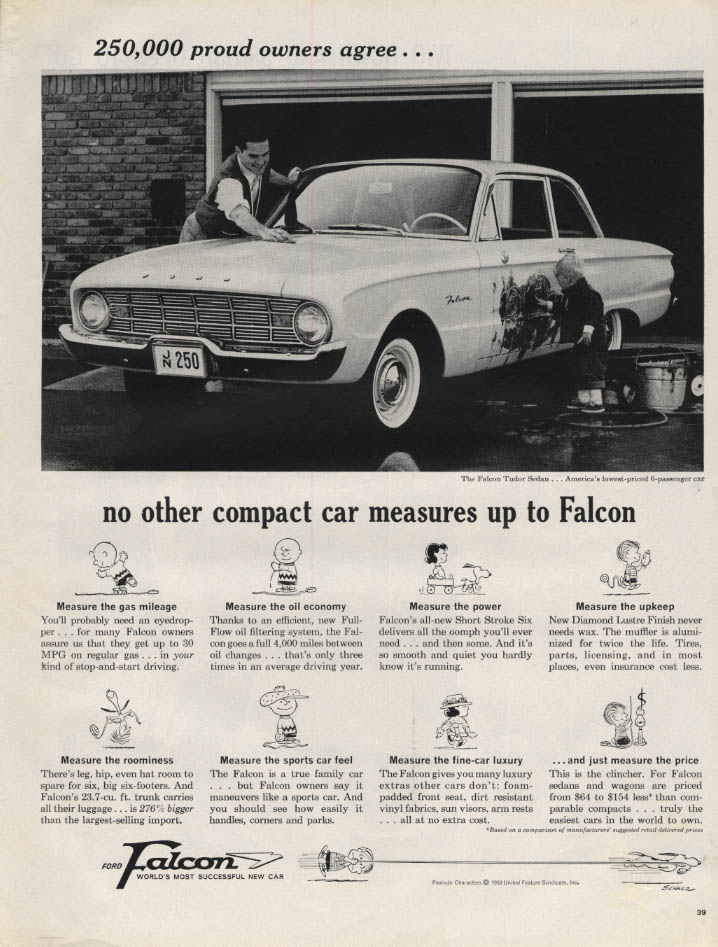 250,000 proud owners agree Ford Falcon ad 1960 Charles Schulz Peanuts L