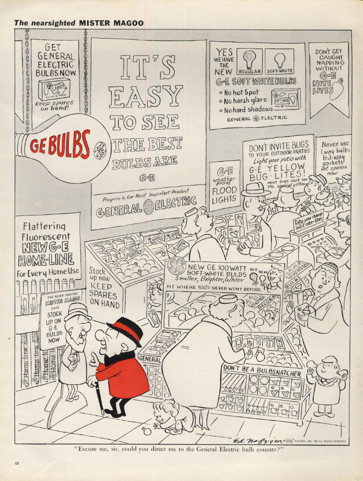 Image for Mr Magoo for General Electric GE Light Bulbs ad 1960 L