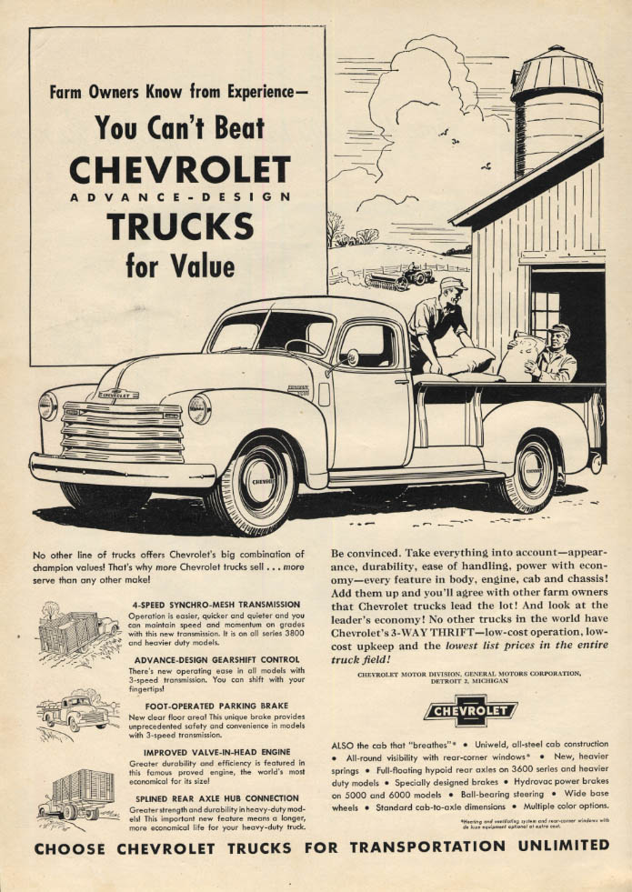 Image for Farm owners know from experience Chevrolet Pickup Truck ad 1949 PF