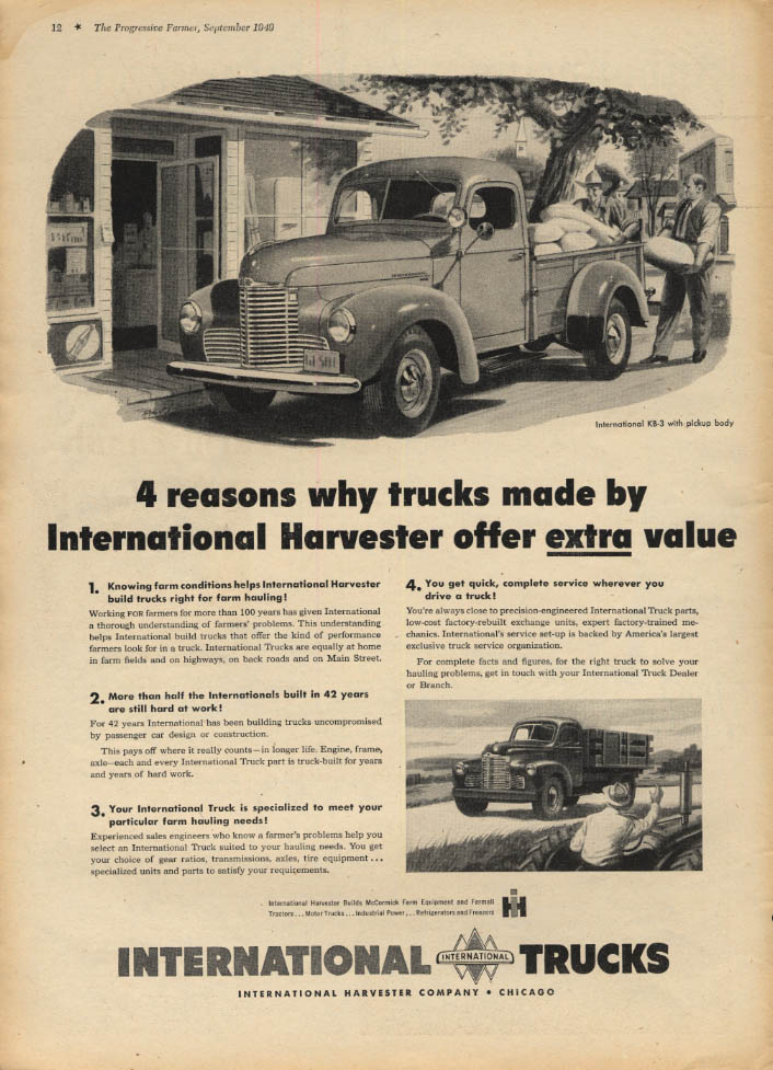Image for 4 reasons why trucks by International Harvester offer extra value Pickup ad 1949