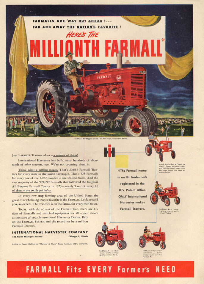 Image for Here's the Millionth International Harvester Farmall Tractor ad 1947 PF
