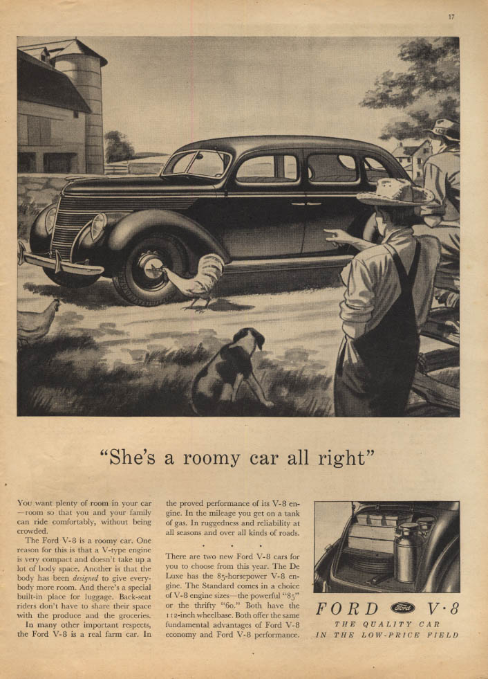 Image for She's a roomy car all right! Ford Fordor ad 1938 PF