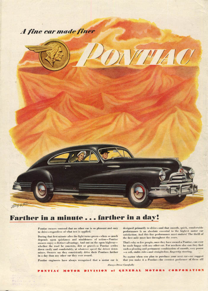 Image for Farther in a minute - farther in a day! Pontiac Torpedo Coupe ad 1947