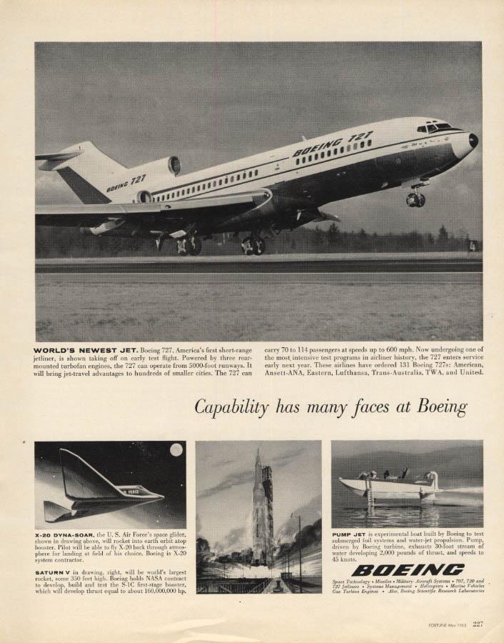 Image for World's newest jet Boeing 727 X-20 Dyna-Soar Saturn V Rocket ad 1963 F
