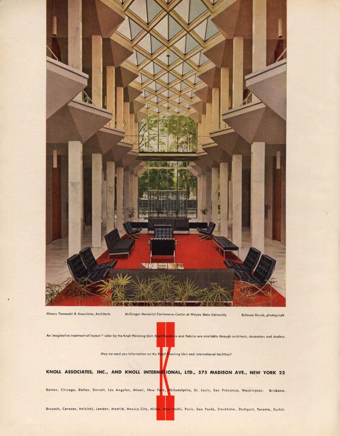 Minaru Yamasaki & Associates Architects Wayne State U Knoll funiture ad 1960 F