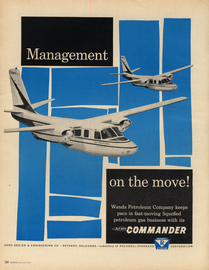 Image for Management on the move! Aero Commander Wanda Petroleum business jat ad 1960 F