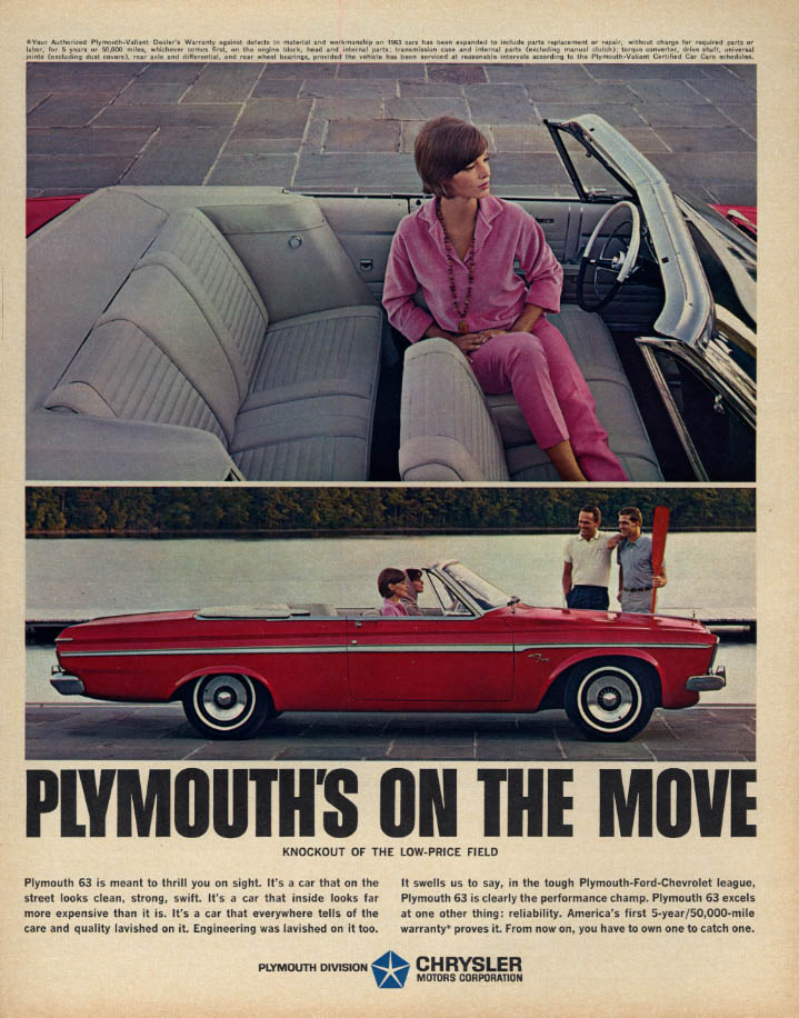 Image for Knockout of the low-price field: Plymouth Fury Convertible on the move ad 1963 K