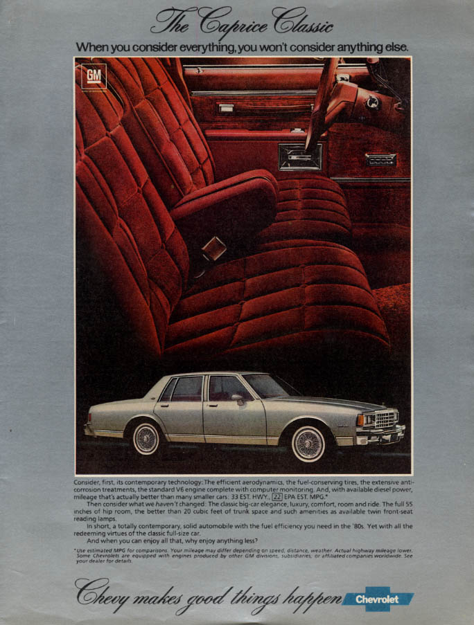 Image for Consider everything & you won't consider anything else Chevrolet Caprice ad 1982