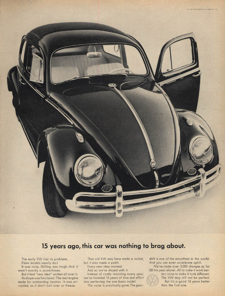 15 years ago this car was nothing to brag about Volkswagen ad 1962 L