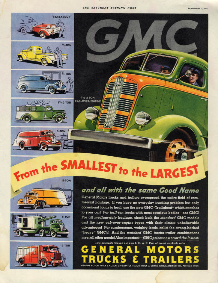 From the smallest to the largest GMC Truck ad 1937 pickup panel 12-ton + SEP