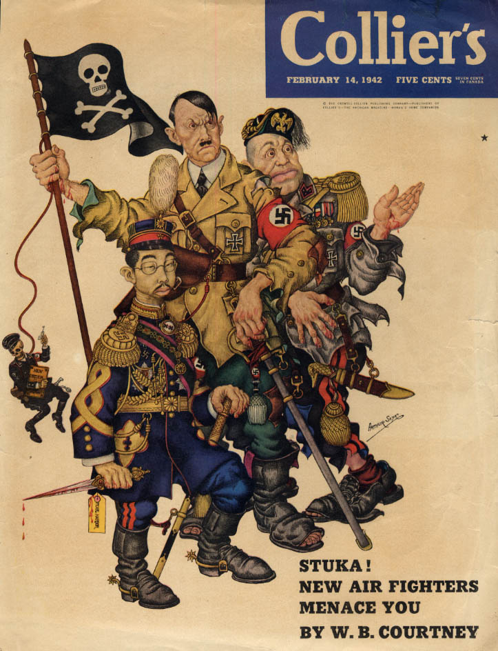 COLLIER'S COVER 2/14 1942 Arthur Szyk Hitler Tojo Mussolini caricatures