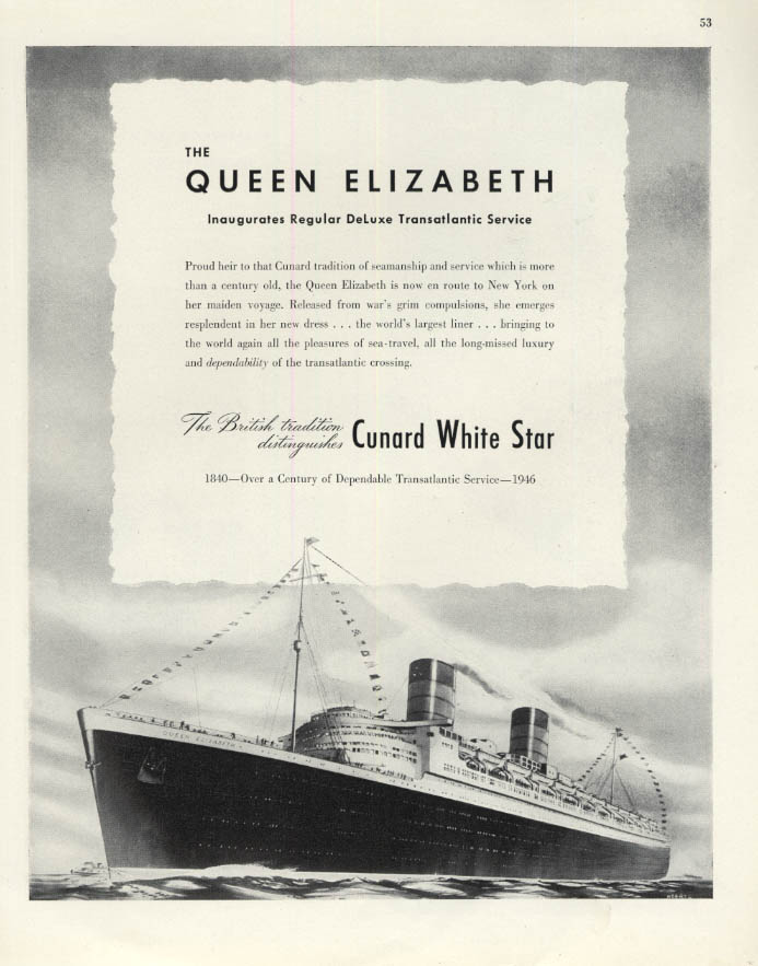 Image for Cnard White Star RMS Queen Elizabeth inaugurates transatlantic service ad 1946 F