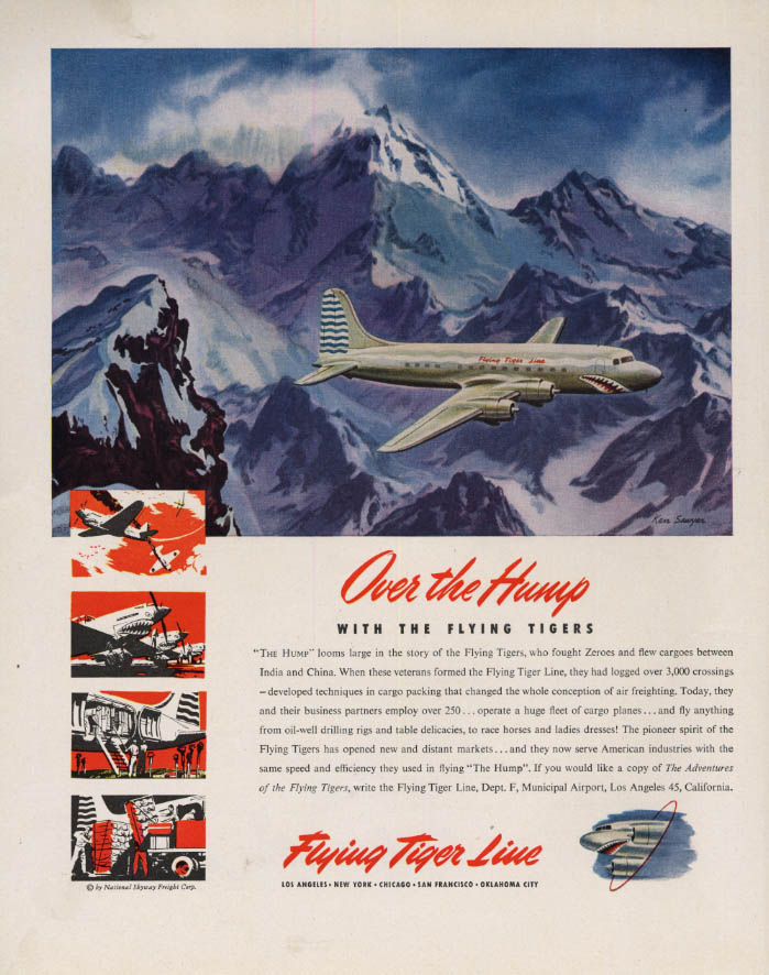 Image for Over the Hump with the Flying Tiger Line C-54A Skymaster ad 1946 F