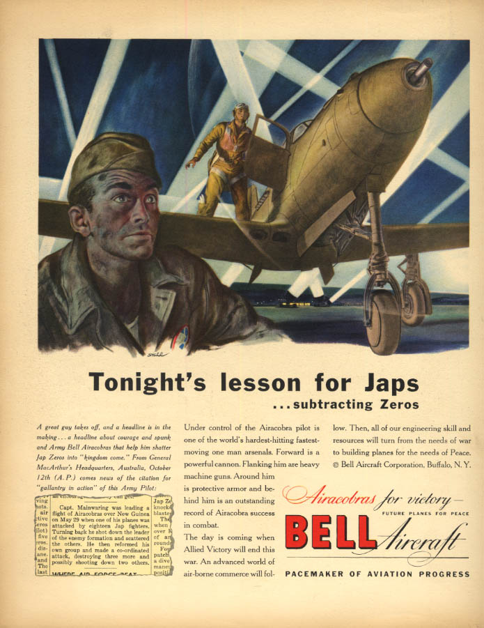 Image for Tonight's lesson for Japs - Bell P-39 Airacobra ad 1943 F