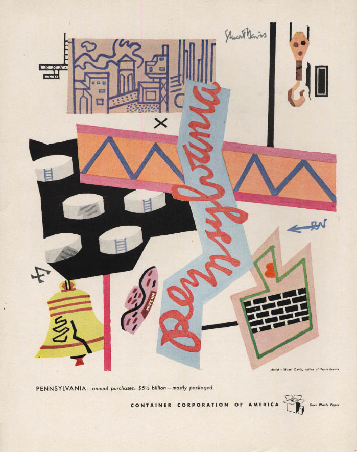Image for Pennsylvania - Container Corporation of America ad 1946 by Stuart Davis F