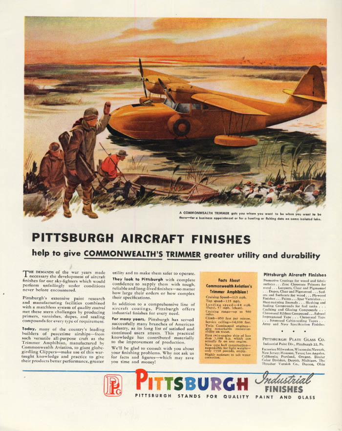 Image for Commonwealth Trimmer Amphibian airplane Pittsburgh Industrial Finishes ad 1946 F