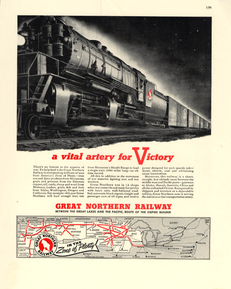 Image for A Vital artery for Victory - Great Northern Railway Baldwin 2-8-8-2 ad 1943 F