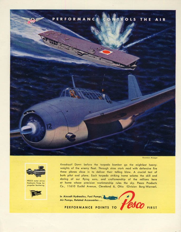 Image for Grumman TBF Avenger torpedo bombs Jap aircraft carrier Pesco Aviation ad 1943 F