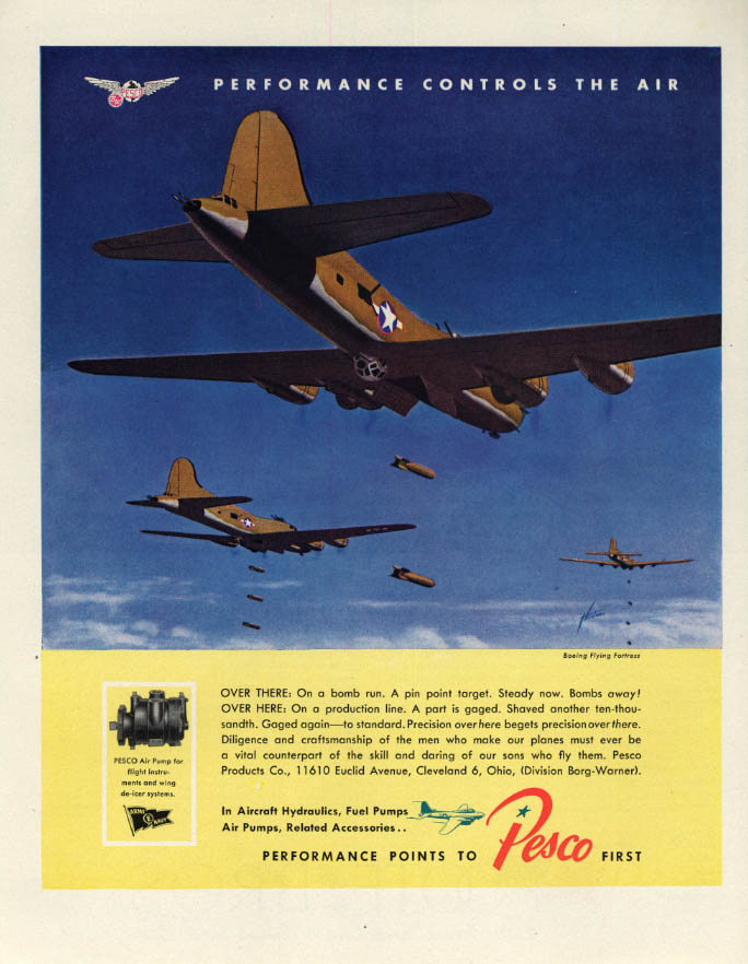 Image for Boeing B-17 Flying Fortress on bomb run Pesco Aviation ad 1943 F