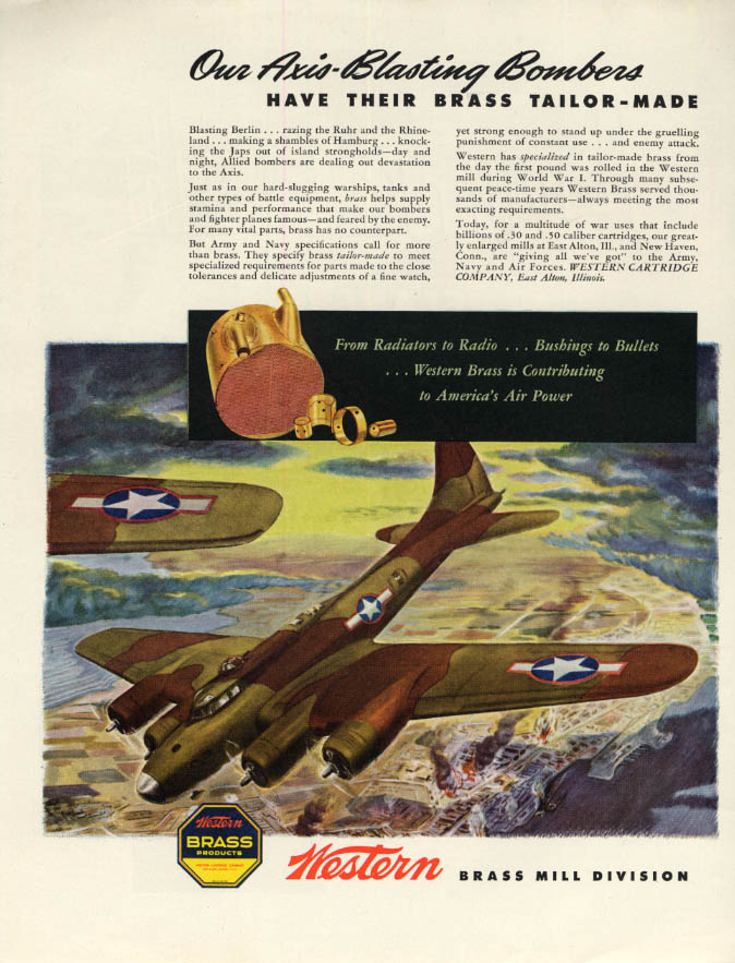 Image for Our Axis-Blasting B-17 Flying Fortress - Western Brass ad 1943 F
