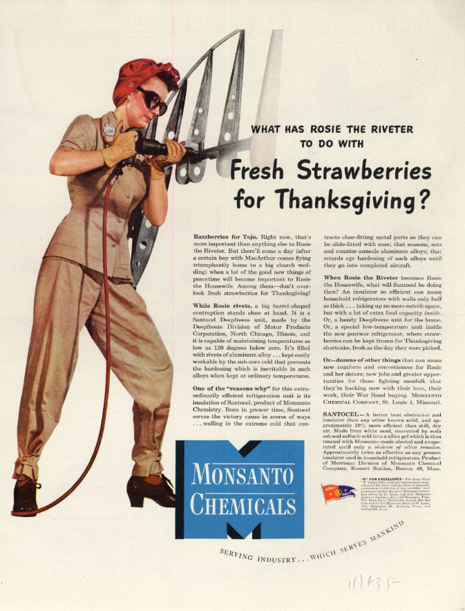 Image for Rosie the Riveter & Thanksgiving Strawberries? Monsanto Chemicals ad 1943 F