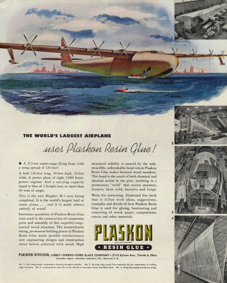 Image for Howard Hughes Spruce Goose H-4 Airliner: Plaskon Resin Glue ad 1945 F