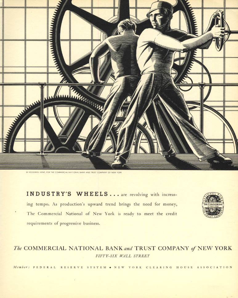Image for Industry's Wheel: Commercial National Bank & Trust of NY ad 1934 Rockwell Kent F