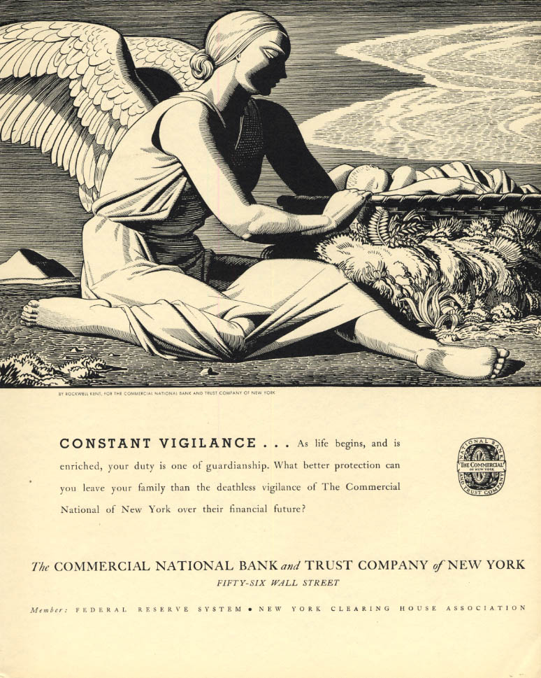 Image for Constant Vigilance: Commercial National Bank & Trust of NY ad 1934 Rockwell Kent