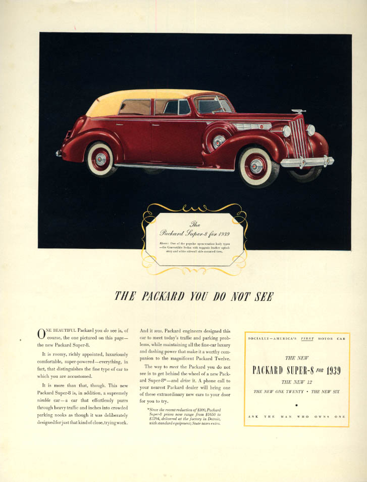Image for The Packard You Do Not See: Packard Super 8 Convertible Sedan ad 1939 F
