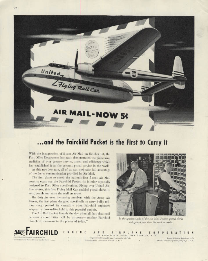 Image for Air Mail Now 5c - Fairchild Packet United Air Lines Flying Mail Car ad 1946 F