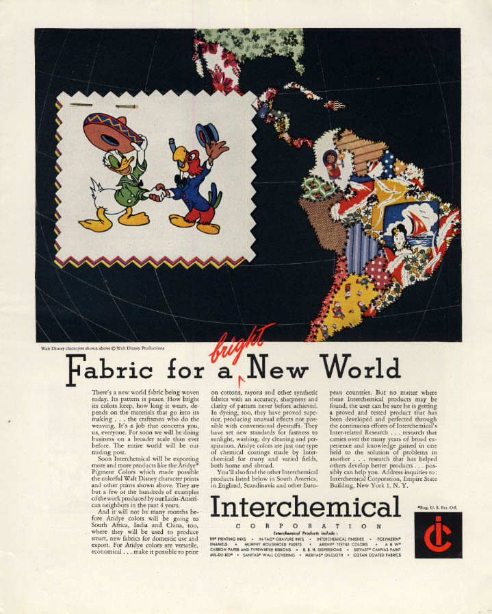 Image for Fabric for a bricght New World Interchemical ad 1946 Disney's Donald Duck + F