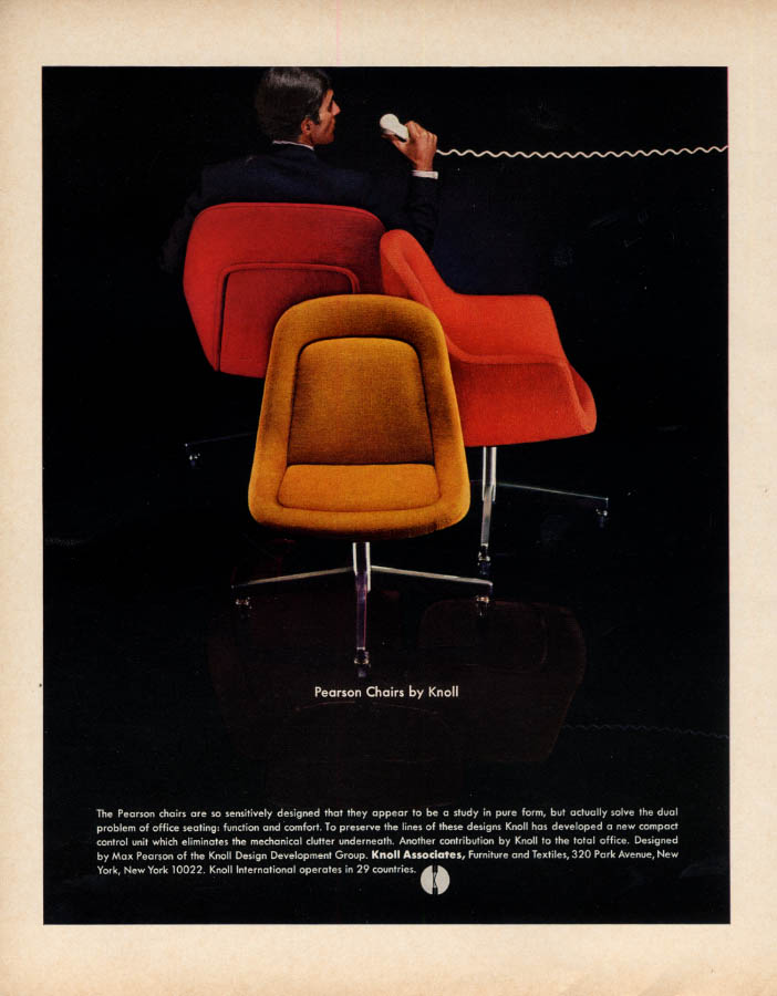 Pearson Chairs by Knoll Associates ad 1968 F