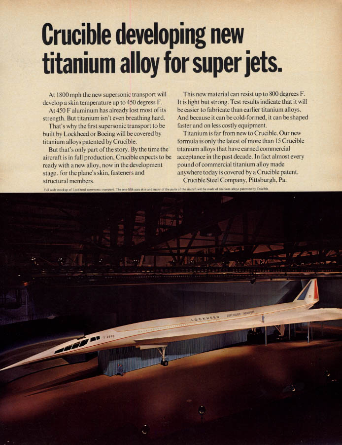 Image for Crucible developing new titanium alloy for Lockheed SST ad 1966 F