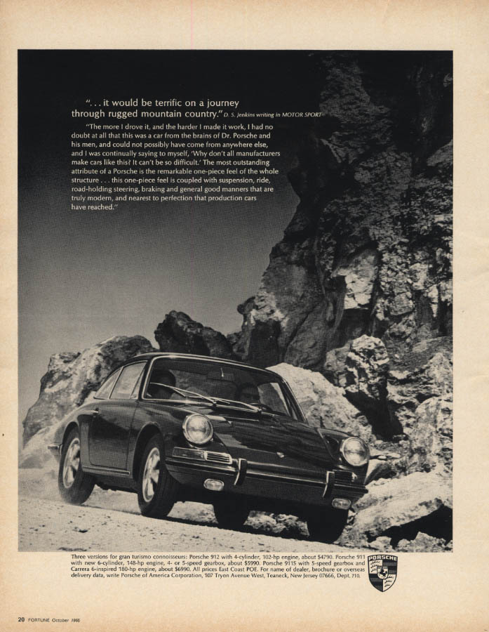 Image for Terrific on a journey through rugged mountain country Porsche 911 ad 1966 F
