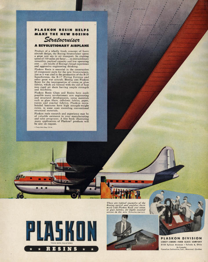 Image for Boeing Stratocruiser airliner Plaskon Resins ad 1946 F
