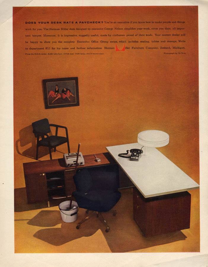 Does your desk rate a paycheck? Herman Miller George Nelson furniture ad 1957 F