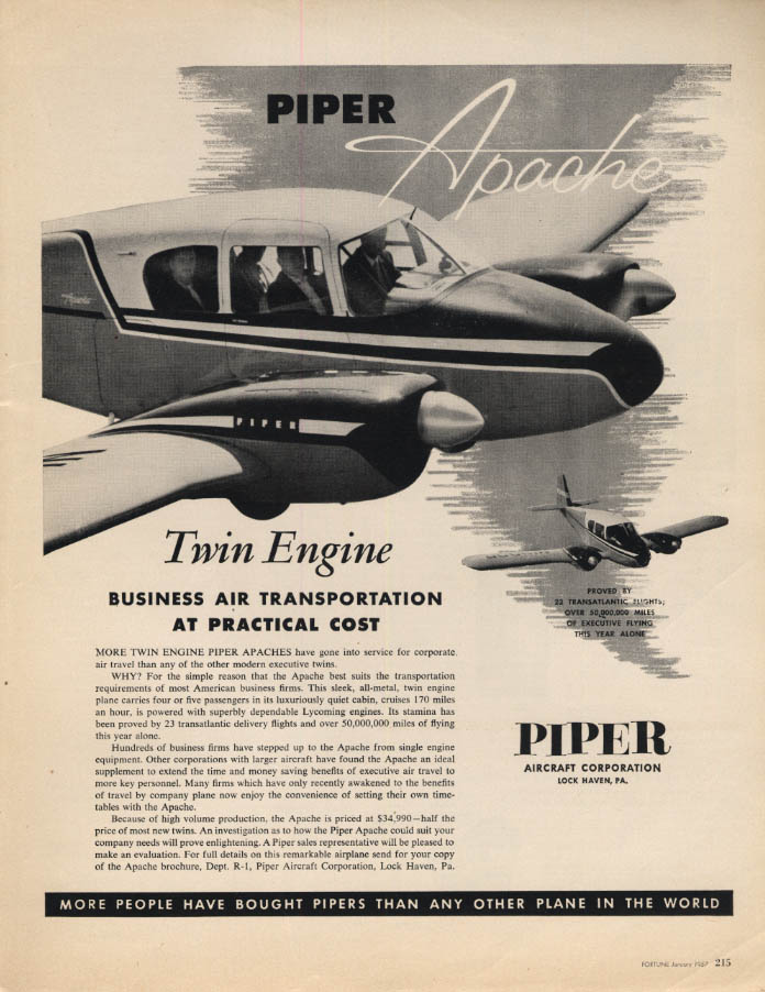 Image for Business Air Transport at Practical Cost: Piper Apache ad 1957 F