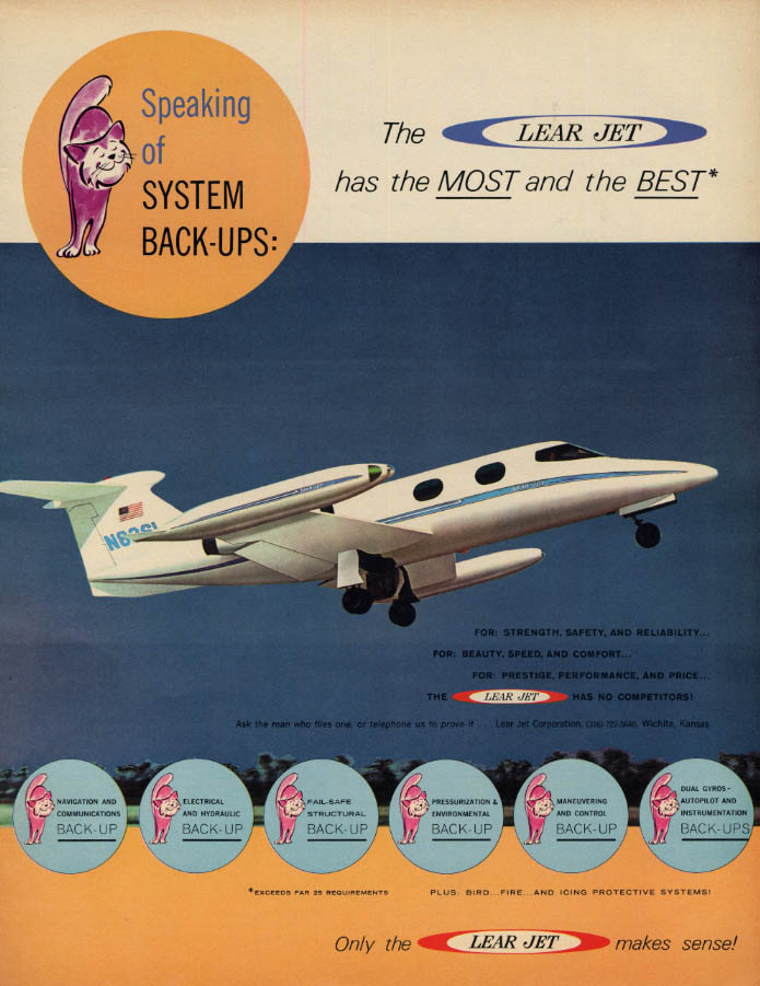 Image for Speaking of System Back-Ups: Lear Jet business airplane ad1965 F
