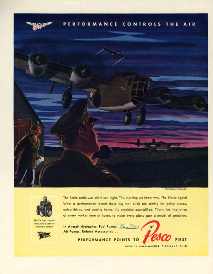 Image for Consolidated B-24 Liberator bomber: Pesco Aircraft ad 1943 F