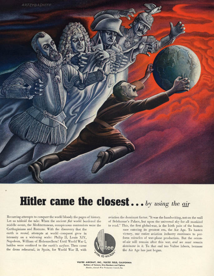 Image for Hitler came the closest by using the air Vultee Aircraft ad 1943 Artztbasheff F