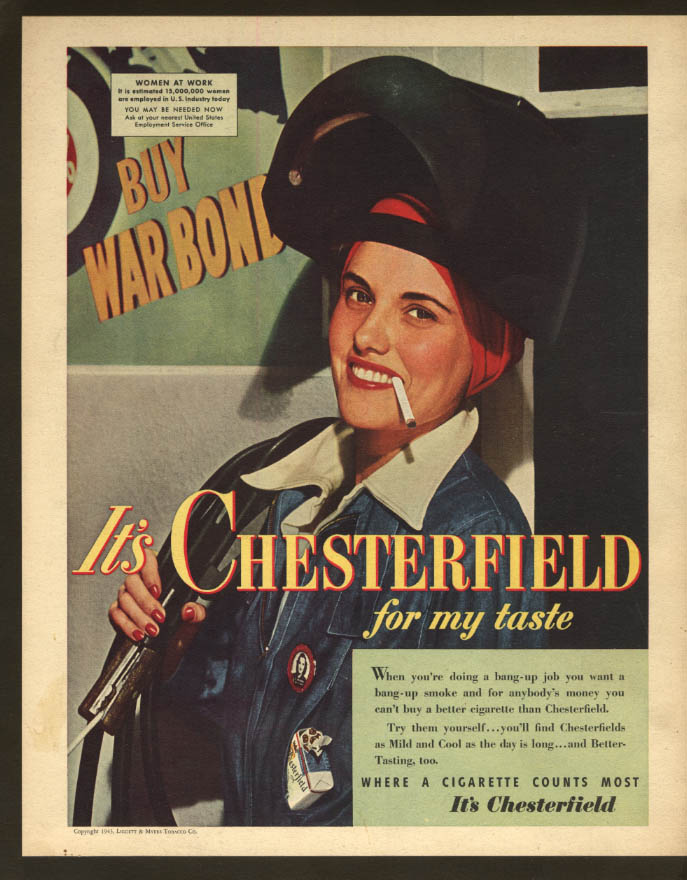 Image for Women at Work Rosie the Riveter Chesterfield Cigarettes ad 1943 F