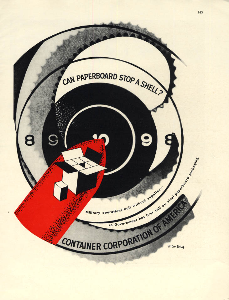 Can Paperboard Stop a Shell? Container Corporation of America ad 1942 Man Ray F