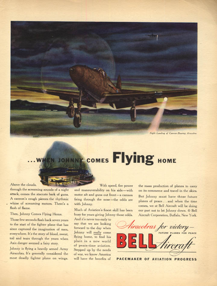 Image for When Johnny Comes Flying Home - Bell P-39 Airacobra ad 1942 F