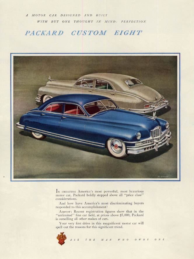 One Though in Mind: Perfection: Packard Custom Eight ad 1949 F