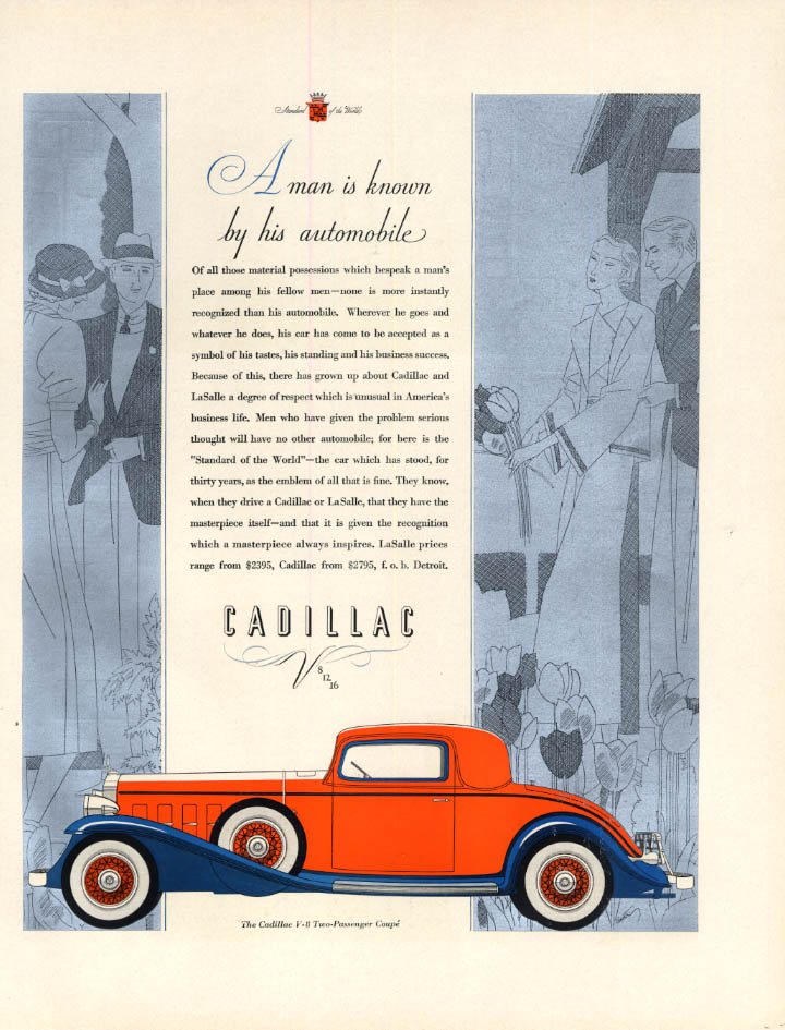 A Man is Known by His Automobile: Cadillac V-8 Coupe ad 1932 F